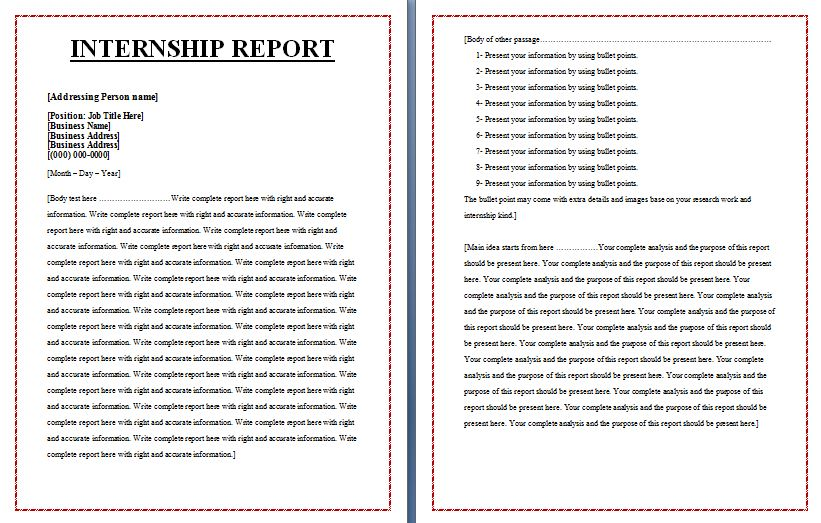 Internship Report Templates | Free Report Writing Word Format