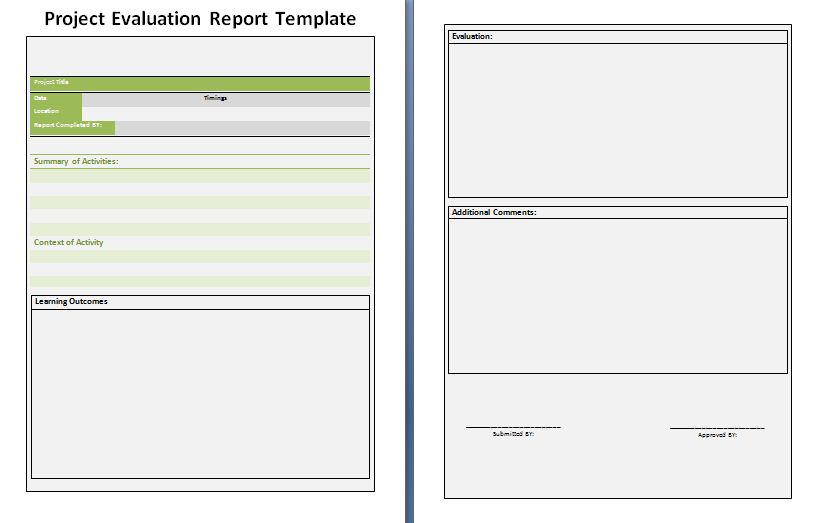 Project Evaluation Report Template | Free Report Writing Word Format