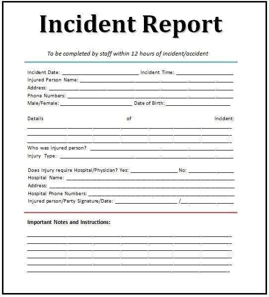 incident report templates